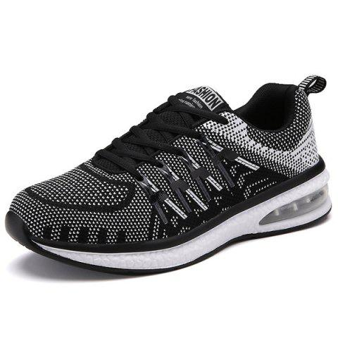 Sale Colour Block Breathable Tie Up Athletic Shoes WHITE AND BLACK 43