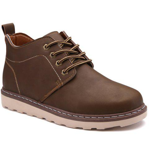 Latest Stitching Faux Leather Tie Up Boots - 41 BROWN Mobile
