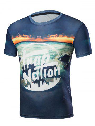 Fancy Short Sleeve Graphic and Sea Print T-Shirt BLUE S