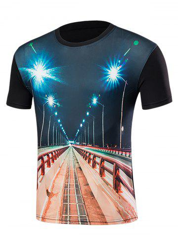 Best Short Sleeve 3D Highway Print T-Shirt BLACK L