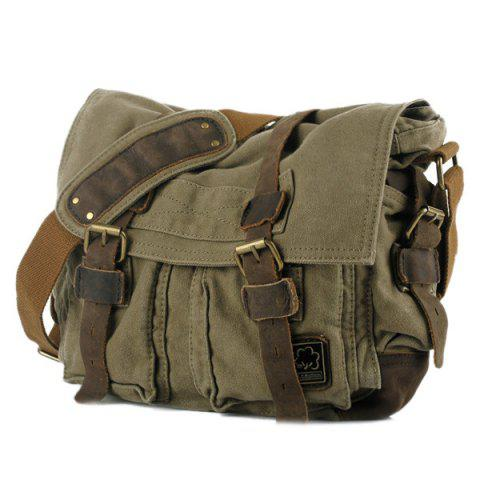 Multi Buckle Straps Messenger Bag - Army Green