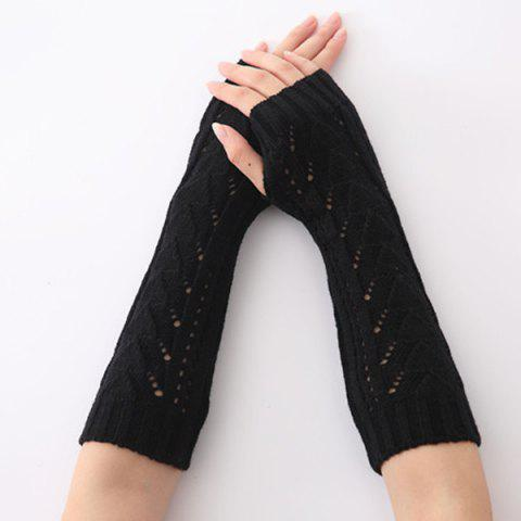 Sale Hollow Out Triangle Crochet Knit Fingerless Arm Warmers - BLACK  Mobile