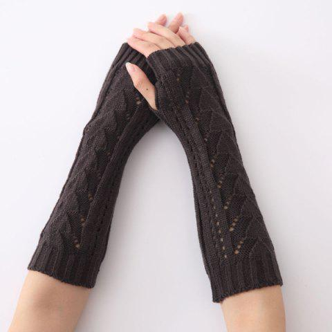 Chic Hollow Out Triangle Crochet Knit Fingerless Arm Warmers BLACK GREY
