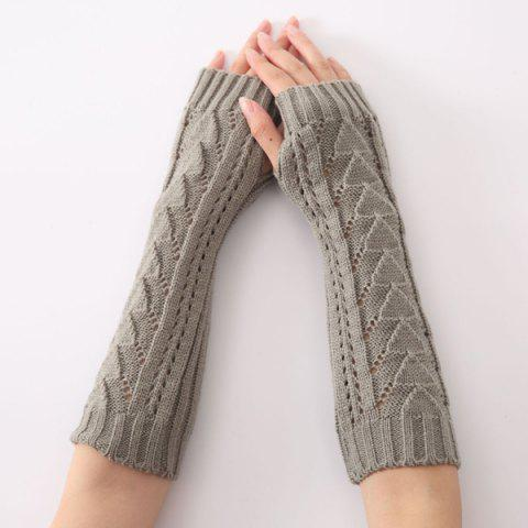 Discount Hollow Out Triangle Crochet Knit Fingerless Arm Warmers GRAY