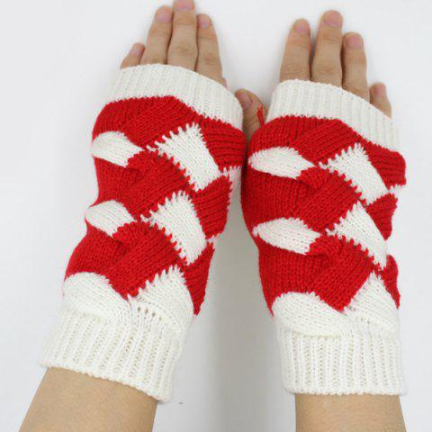 Fashion Color Block Crochet Knit Checked Triangle Fingerless Gloves - WHITE  Mobile