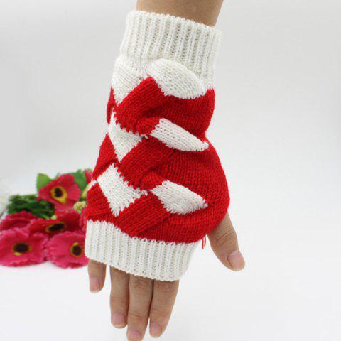 Outfit Color Block Crochet Knit Checked Triangle Fingerless Gloves - WHITE  Mobile