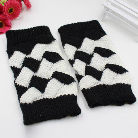 Outfit Color Block Crochet Knit Checked Triangle Fingerless Gloves - BLACK  Mobile