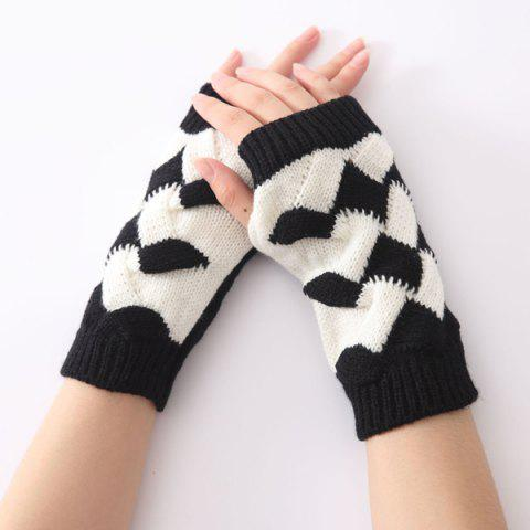 Fashion Color Block Crochet Knit Checked Triangle Fingerless Gloves