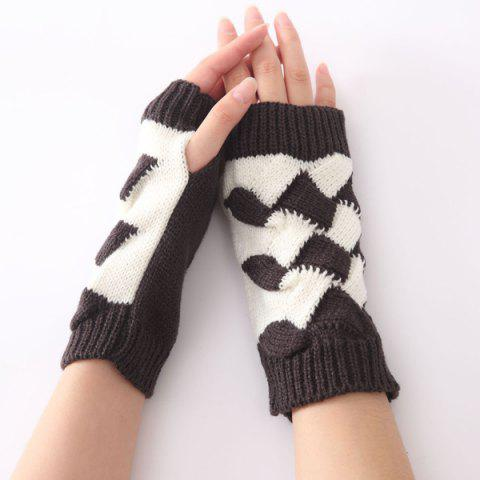 Shops Color Block Crochet Knit Checked Triangle Fingerless Gloves