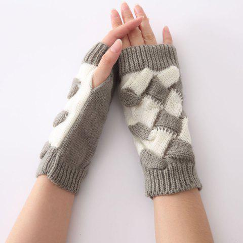 Outfit Color Block Crochet Knit Checked Triangle Fingerless Gloves LIGHT GRAY