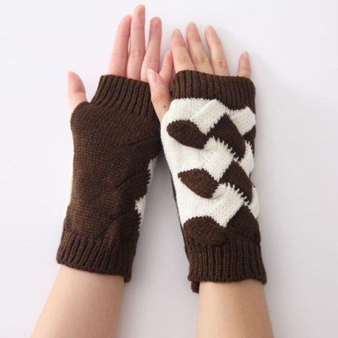 Online Color Block Crochet Knit Checked Triangle Fingerless Gloves - COFFEE  Mobile