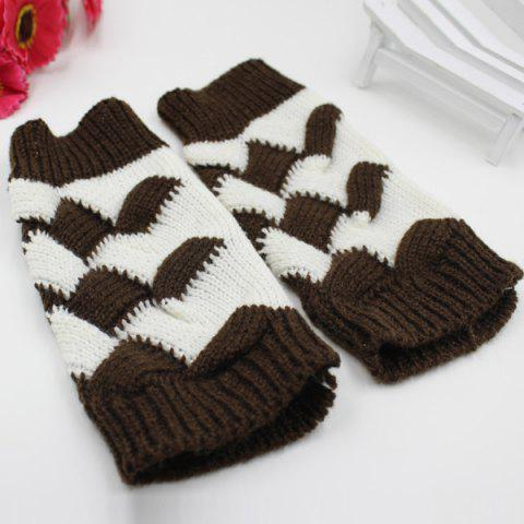 Trendy Color Block Crochet Knit Checked Triangle Fingerless Gloves - COFFEE  Mobile
