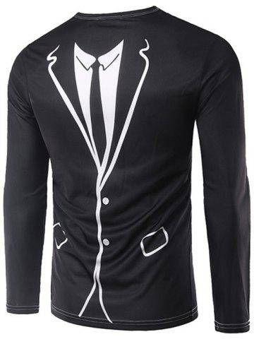 Shop 3D Counterfeit Suit Print Long Sleeve T-Shirt - XL BLACK Mobile