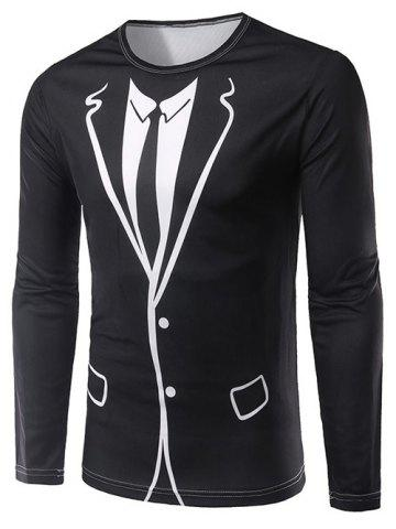 Store 3D Counterfeit Suit Print Long Sleeve T-Shirt - XL BLACK Mobile