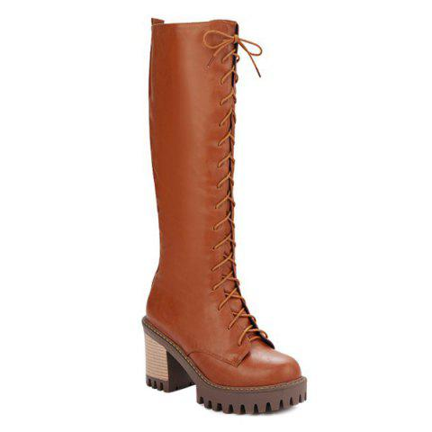 Buy Zip Tie Chunky Heel Boots - Light Brown 39
