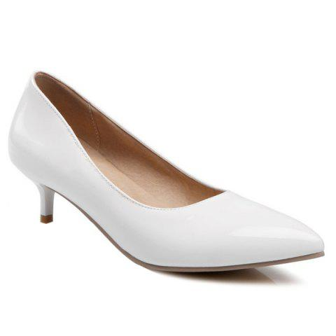 Hot Kitten Heel Patent Leather Pumps WHITE 38
