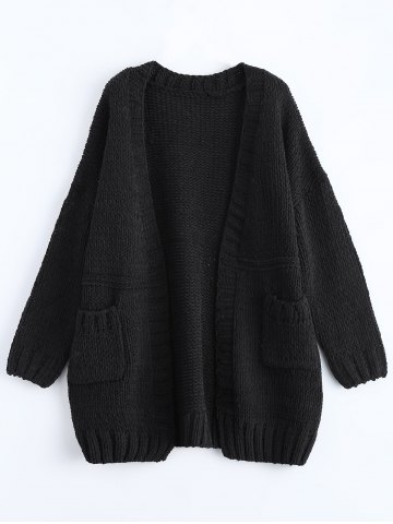 Affordable Open Front Pockets Ribbed Cardigan