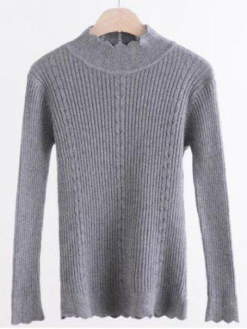 Mock Neck Scalloped Ribbed Sweater