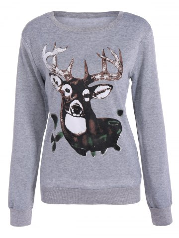 Outfit Christmas Elk Pullover Sweatshirt - L LIGHT GRAY Mobile