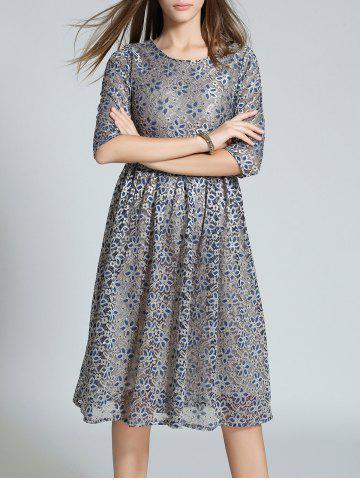 Unique High Waist Embroidery Lace Dress