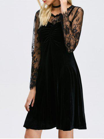 Lace Sheer Sleeve Velvet A Line Dress - Black - S