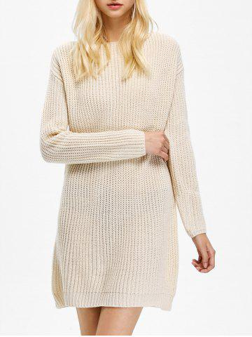Long Sleeve Textured Mini Jumper Cream Dress - Apricot - One Size