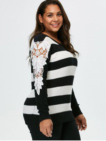 Outfit Plus Size Lace Panel Striped Sweater - 5XL BLACK Mobile
