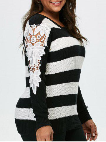 Plus Size Lace Panel Striped Sweater - Black - 2xl