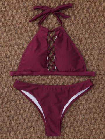 Fancy Cut Out High Neck Halter Bikini - S BURGUNDY Mobile