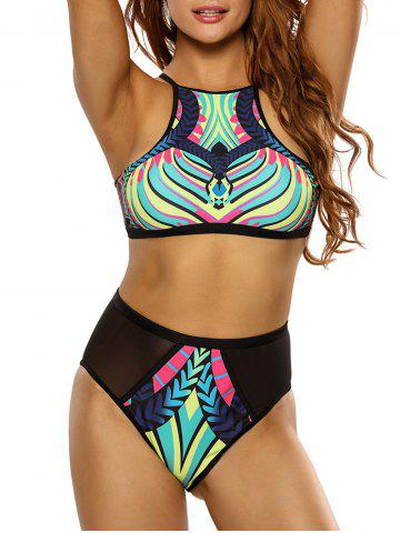 Discount Printed High Neck High Waisted Racerback Bikini Set - M BLACK Mobile