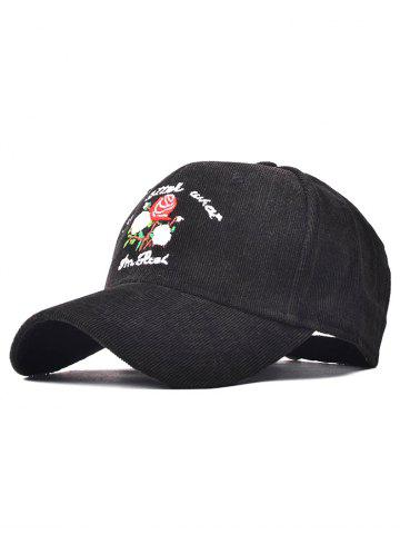 Corduroy Fitted Baseball Cap with Roses Embroidery - Black
