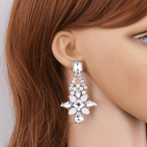 Rhinestone Teardrop Drop Earrings - White