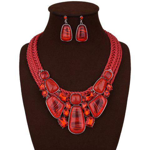 Enamel Faux Stone Braided Rope Bib Necklace Set - RED