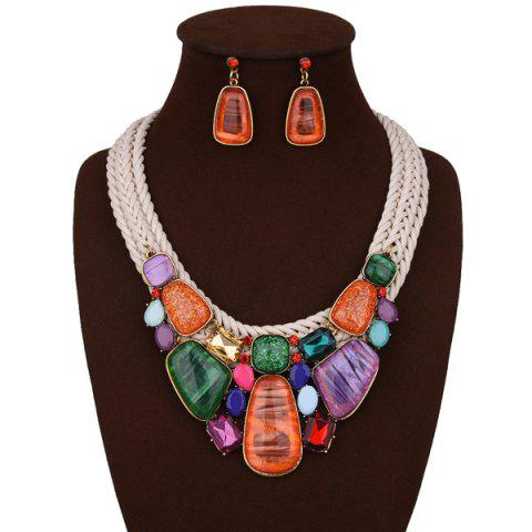 Best Enamel Faux Stone Braided Rope Bib Necklace Set - BEIGE  Mobile