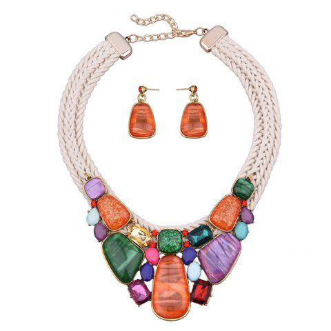 Latest Enamel Faux Stone Braided Rope Bib Necklace Set - BEIGE  Mobile