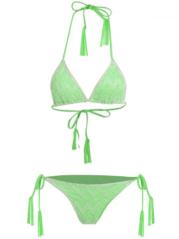 Fancy Tassel Halter Side Tie Lace Bikini Set - L NEON GREEN Mobile