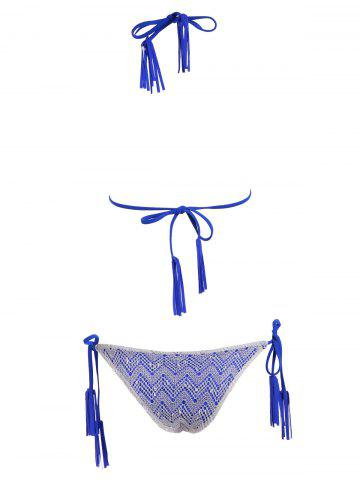 Chic Tassel Halter Side Tie Lace Bikini Set - BLUE M Mobile