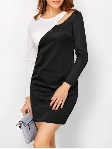 Cut Out Long Sleeve Color Block Sheath Office Dress - White And Black - S