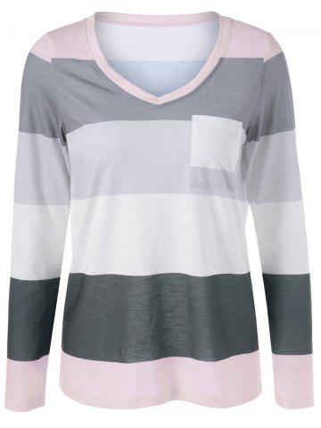 Unique V Neck Striped Single Pocket T-Shirt