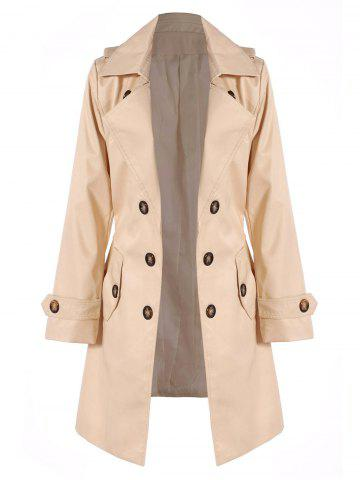 Latest Belted Double Breasted Trench Coat with Pockets