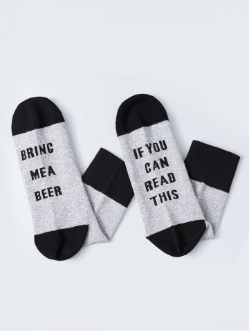 Outfit Pair of Letter Graphic Contrast Socks - BLACK  Mobile