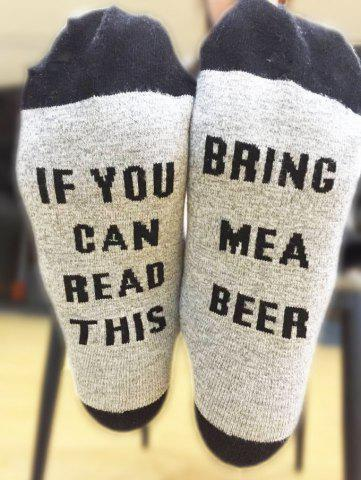 Chic Pair of Letter Graphic Contrast Socks BLACK