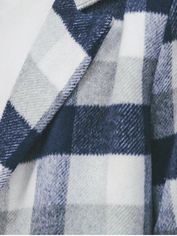 Chic Wool Blend Long Lapel Double Breasted Checked Coat - XL CADETBLUE Mobile