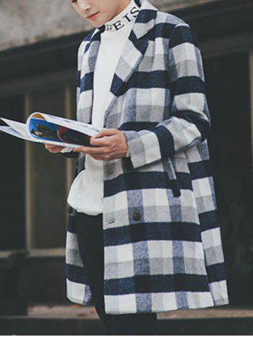 Chic Wool Blend Long Lapel Double Breasted Checked Coat - M CADETBLUE Mobile