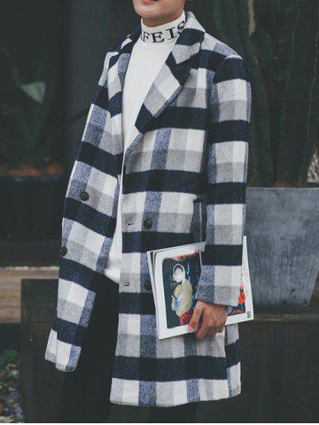 Outfit Wool Blend Long Lapel Double Breasted Checked Coat - M CADETBLUE Mobile
