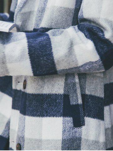 Fashion Wool Blend Long Lapel Double Breasted Checked Coat - M CADETBLUE Mobile