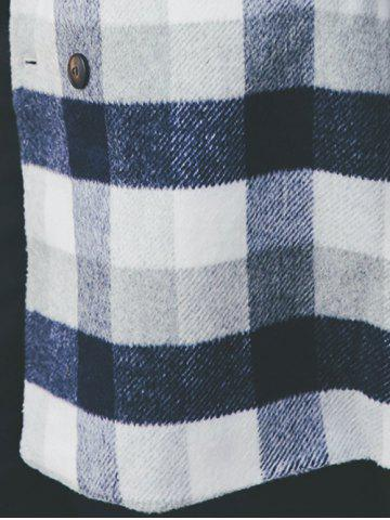 Hot Wool Blend Long Lapel Double Breasted Checked Coat - M CADETBLUE Mobile