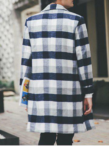 Latest Wool Blend Long Lapel Double Breasted Checked Coat - M CADETBLUE Mobile