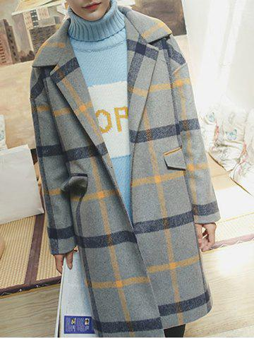 Fashion Lapel Single Button Checked Coat