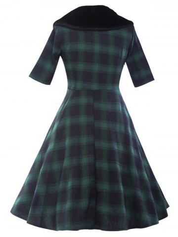 45 Off Plaid Fit And Flare Vintage Dress Rosegal